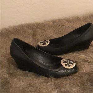 Tory Burch Peep Toe black tumbled leather wedges